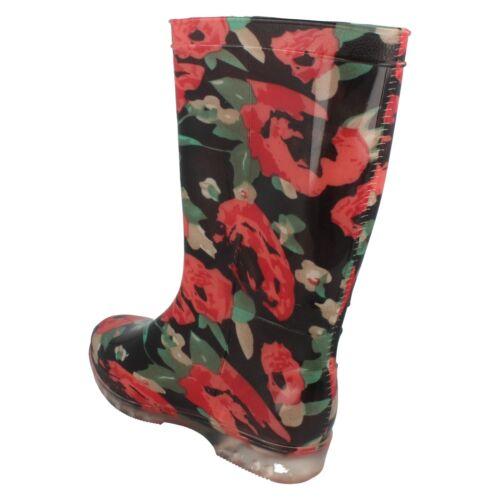 Ladies Rose pattern wellingtons X1179