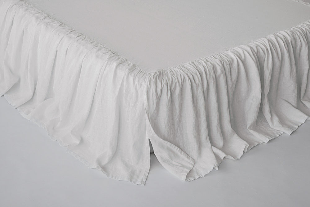 Linen Bed Skirt with Ruffles Stone Washed Softened European Linen