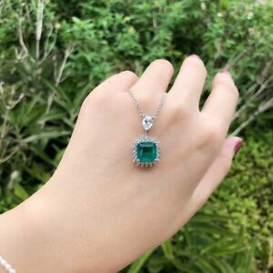 Damen-Halskette-echt-Silber-925-Smaragd-Edelstein-Kette-mt-Anhaenger-Geschenk-Neu
