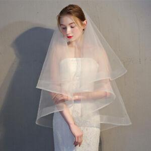 Women-Veil-Hair-Comb-White-Two-Layer-Wedding-Bridal-Simple-Hair-Accessories-D