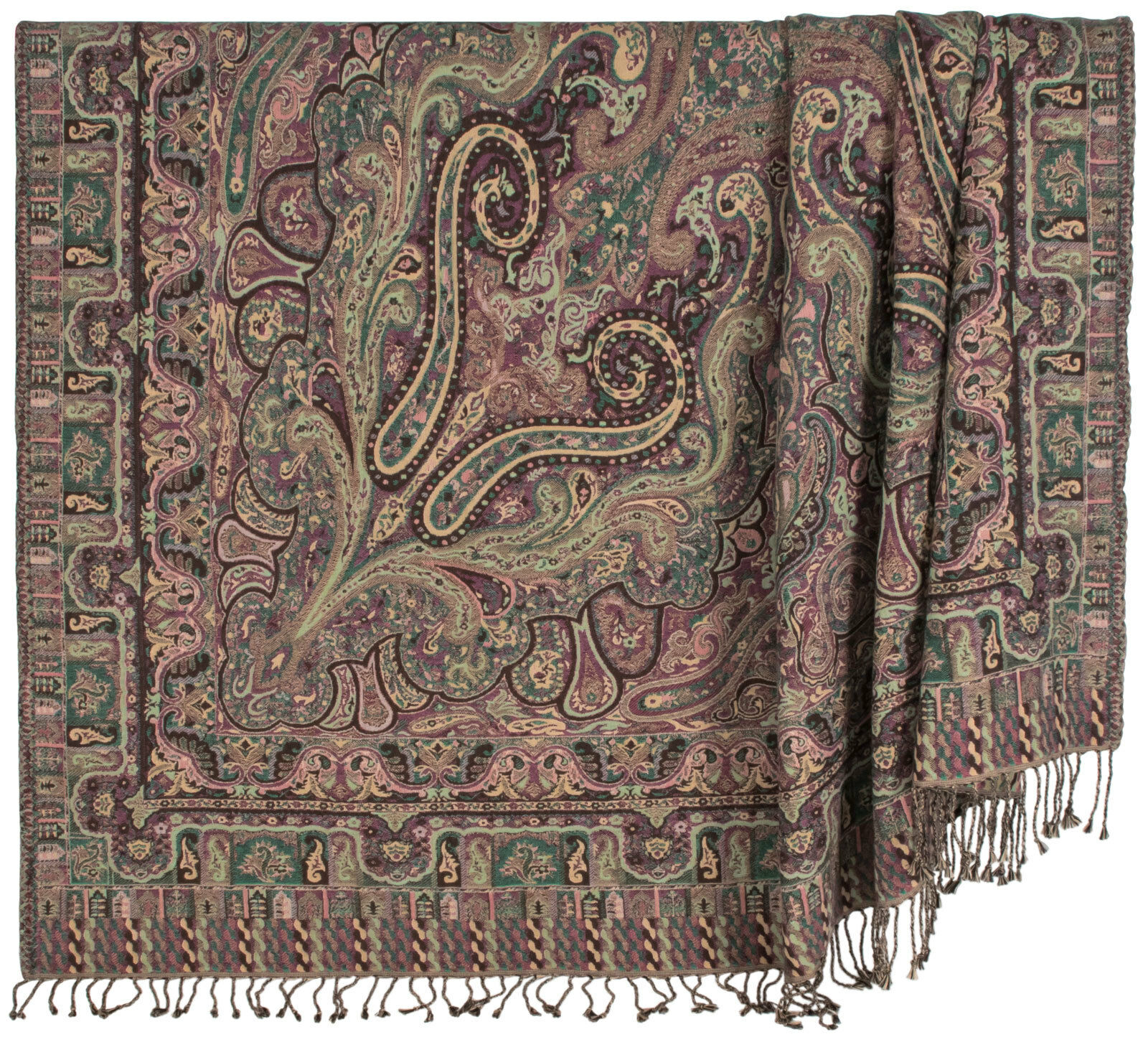 100% Cotton Jade Burgundy & Beige Paisley 50 x70  Throw w  Tassels - Alcott