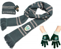 New Harry Potter Slytherin Thicken Knit Warm Scarf +Cap/Hat + Gloves Xmas Gifts