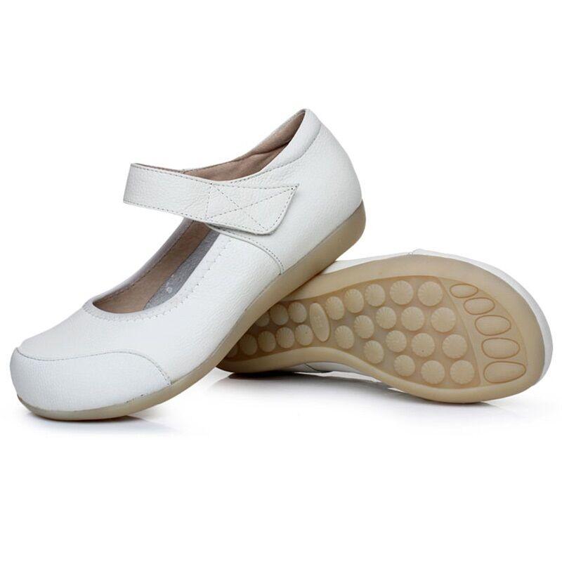 Womenu0026#39;s Leather Soft Sole Nurse Shoes Flats Medical ...