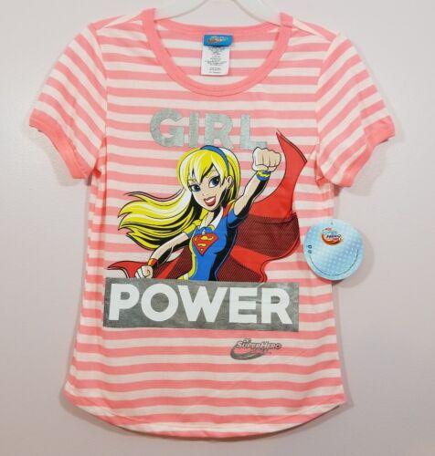 Supergirl DC SuperHero Girls Pink Striped Short Sleeve Girl Power Shirt New NWOT