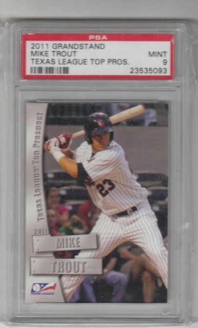 2011 Grandstand Texas League Top Prospect Mike Trout Angels Rookie Card Psa 9