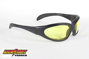 1fa26afedf Image is loading Kick-Start-Eyewear-Chopper-Biker-Sunglasses-Yellow-Lens-
