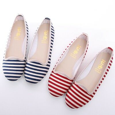 BN Summer Must Womens Navy Stripes Comfort Casual Walking Flats Shoes Loafers