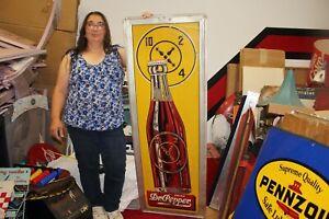 """Rare Large Vintage 1947 Dr Pepper Soda Pop 55"""" Embossed Metal Sign"""