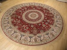 Large Persian Silk Rugs 8' Round Rugs Red Silk Rug Circle Carpet Tabriz 8x8 Ft