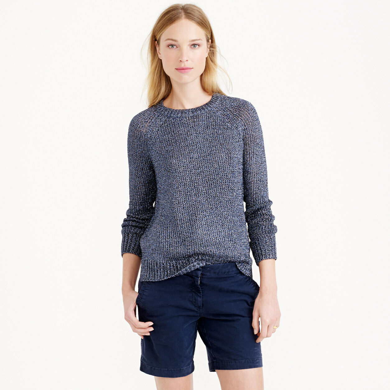 J CREW Cotton twill mid length long navy shorts in UK size 10
