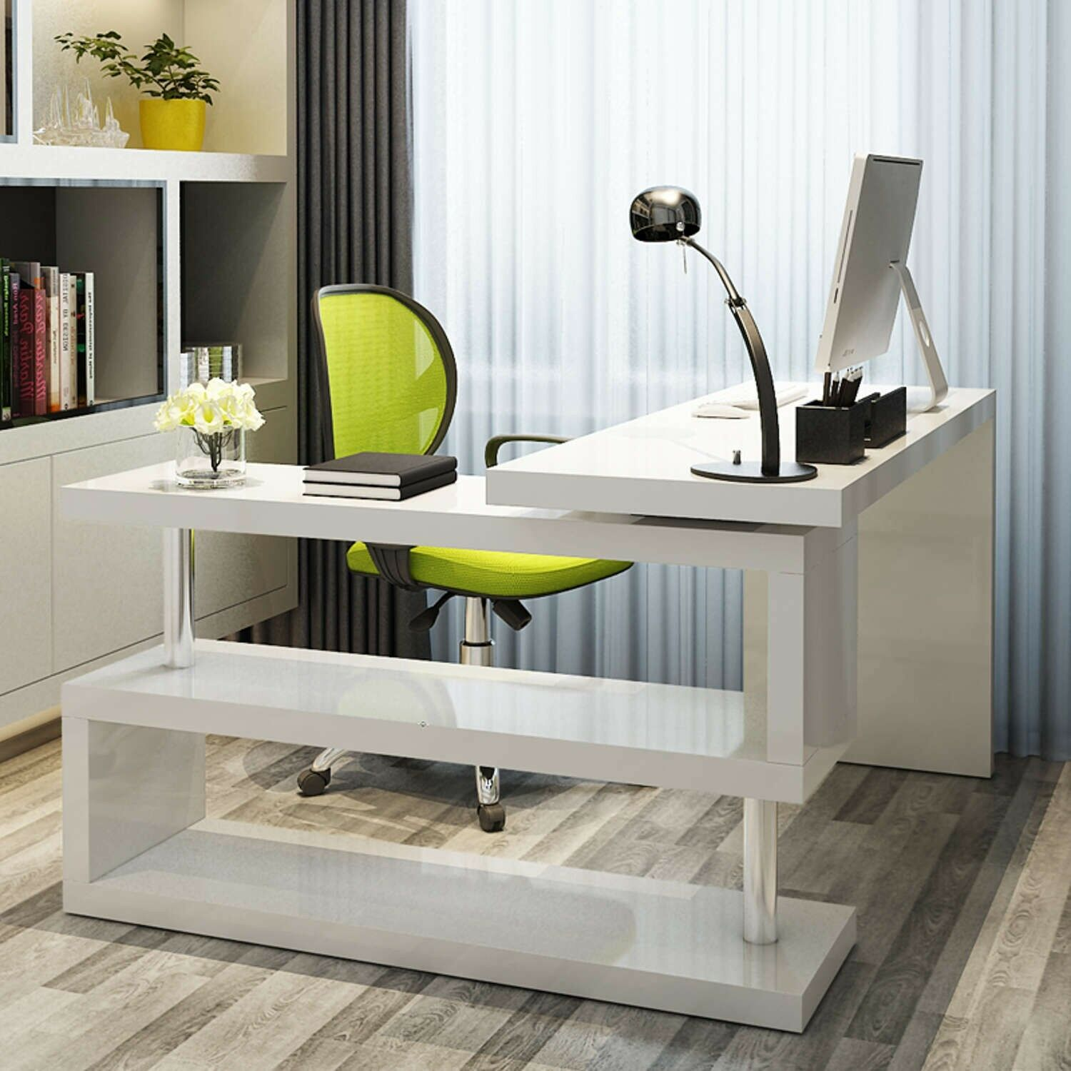 Siena White High Gloss Large Computer Pc Home Executive Study Office Corner Desk