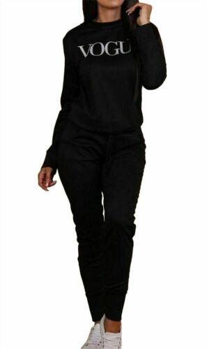 Women/'s Ladies Vogue Print Sweatshirt Jumper Top Joggers Loungewear Tracksuit