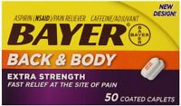 Bayer Back & Body Pain Reliever Extra Strength Coated Caplets 50 Each on Sale