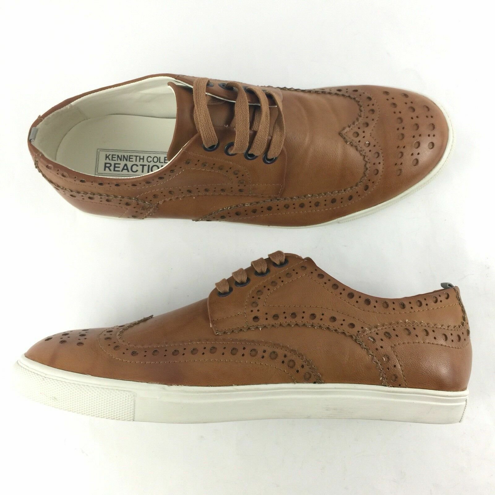 Kenneth Cole Reaction Stand Up Guy Size 10 M US Oxford Shoes Wingtip Tan Men New