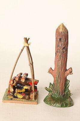 Ehrlich Hauser Elastolin Indianer Marterpfahl + Feuerstelle Elastolin Germany (34212)