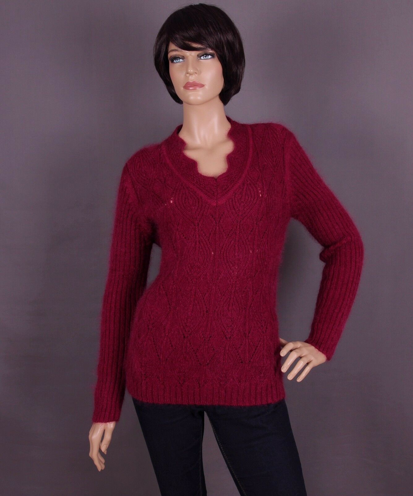 Mohair Damen Pullover, Farbe: bordeaux und Größe: L oder XL (nach Wahl)