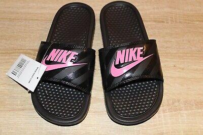 NEW Women's Nike Benassi JDI Print Slide Sandals BlackVivid Pink | eBay