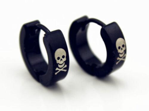 1 PAIR Unisex Stainless Steel Hoop Ear Stud Earrings Punk Gothic Stylish USA