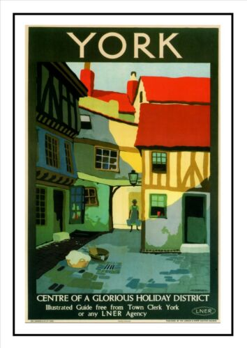 York Centre of Glorious Holiday District Advert Print Vintage LNER Travel Poster