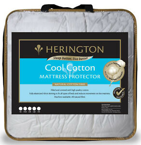 Herington Cool Natural Cotton Mattress Protector | 300gsm Cotton | Fully Fitted