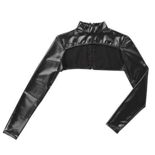 Women Shiny Metallic Crop Top Shrug Long Sleeves Zipper Bolero Cardigan Jacket