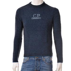 Maglione-Uomo-CP-Company-05CMKN242A-Pullover-Girocollo-Lana-Blu-Nero-Nuovo