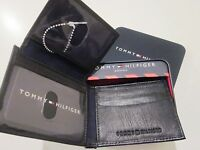 Tommy Hilfiger Men Wallet Bifold Genuine Black Leather Passcase - Metal Case