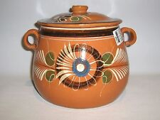 Olla de Barro Decorada con tapa Decorated Clay Pot with lid Mexico. Lead Free
