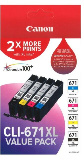 Canon GENUINE PIXMA CLI-671XL Inkjet Ink Cartridge Value Pack CLI671XLVP