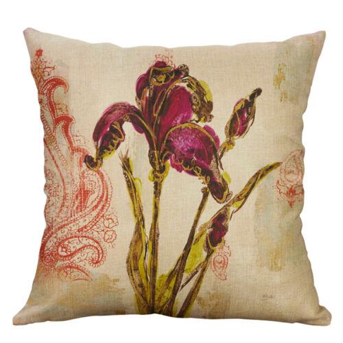 "Case Cushion Cover Cotton Linen Sofa Flower 18/"" Printing Home Decor Pillow"