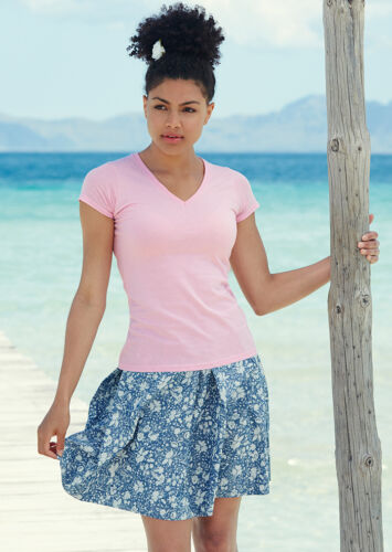 5 FOTL Valueweight Lady Fit Womens Ladies V Neck T Shirt XS-XXL PACK of 3