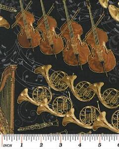 Fat-trimestre-nuit-a-l-039-Opera-instruments-de-l-039-orchestre-100-coton-tissu-de-matelassage