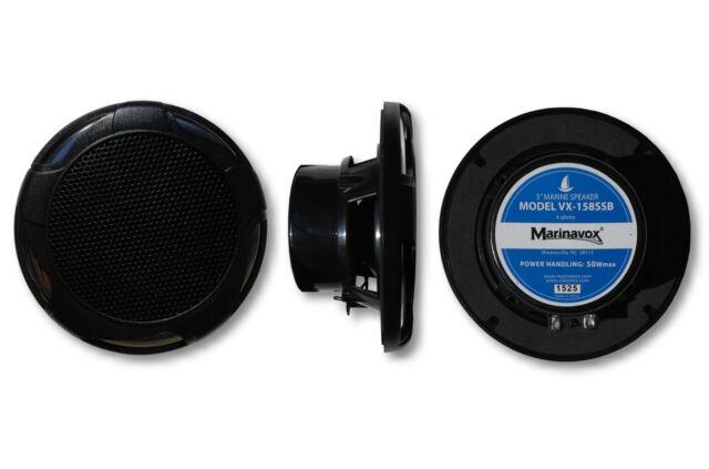 """Marinavox 5/"""" Marine Speaker VX-158SSB BLK Boat Spa Hot Tub NEW PAIR SS Grill"""