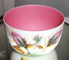 Beautiful Antique Pink & White Cased Glass Finger Bowl