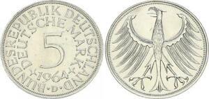 5 DM Silber Kursmünze 1964 D Heiermann fast Stempelglanz 60752