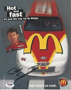 Bill Elliot Signed 1996 McDonalds Hero Photocard - PSA/DNA # Y09329