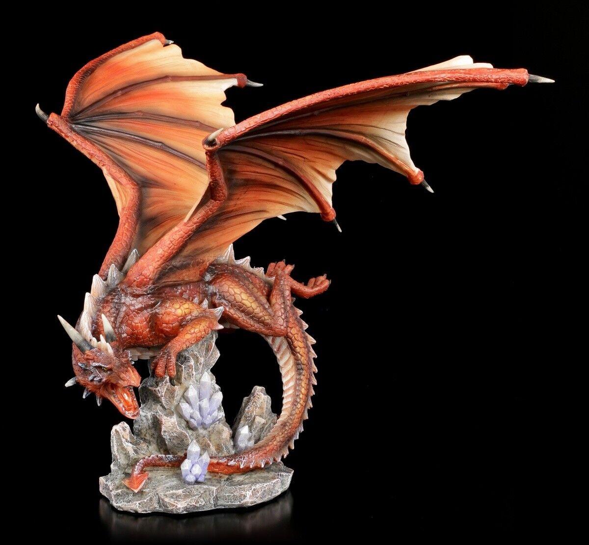 rot Figura de Dragón - Fuego Star - Fantasía Drachenkrieger Escultura
