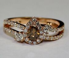 14k Rose Gold Pear Shape Brown Diamond And Round White Diamond Ring Size 7.5