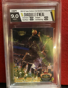 1992 - 1993 Topps Stadium Club Shaquille O'Neal Members Choice Graded HGA 9 RC