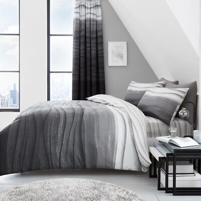 New Grey Black Wave Ombre Reversible, Ombre Bedding Set Queen