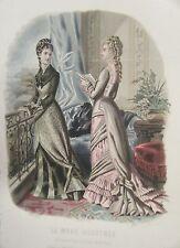 GRAVURE EN COULEUR 19è MODE ILLUSTREE 1877 N° 24 TOILETTES MADAME BREANT CASTEL