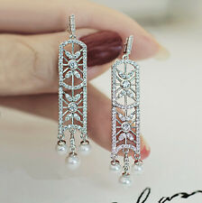 Boucles d`Oreilles Clous Argenté Chandelier Art Deco Perle Mariage Filigrane P1