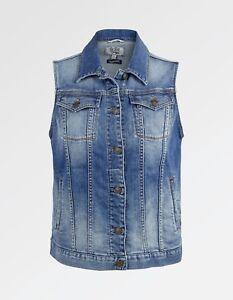 98 Fat Denim Women's Blue Cotton Gilet Face Bnwt rXF1qwX