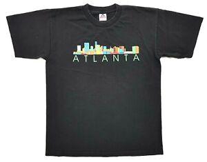 Vintage Atlanta Georgia Skyline Tee Black Size L Mens T-Shirt