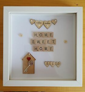 Personalised Home Sweet Home Scrabble Frame Hearts New Home House