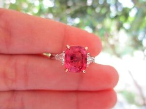 .40 Carat Trillion Cut Diamond 2.89 Carat Spinel Twotone Gold Ring 18k R08 sep