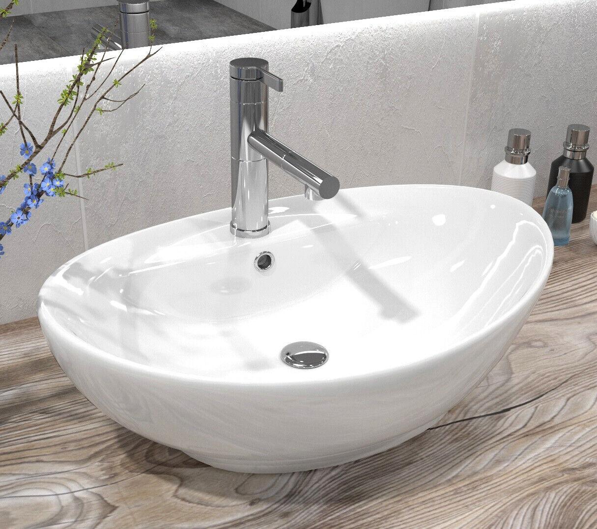 Lavabo REA In Ceramica - CINDY - Lavandino Da Appoggio Bianco