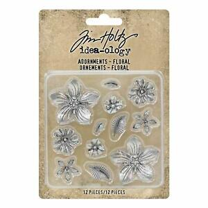Tim-Holtz-idea-ology-Adornments-Floral-Metal-Charm-Ornaments-12pc