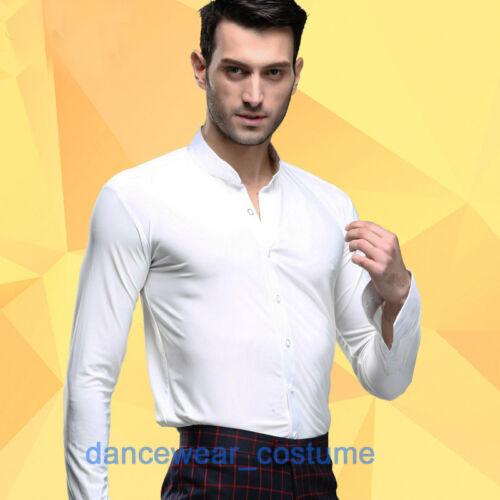 New Men White Waltz Prom Party Ballroom Latin Rhythm Salsa Dance Shirt Top 39-43