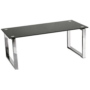 Premier Housewares Coffee Table Black Tempered Glass Top With Chrome Legs New Ebay